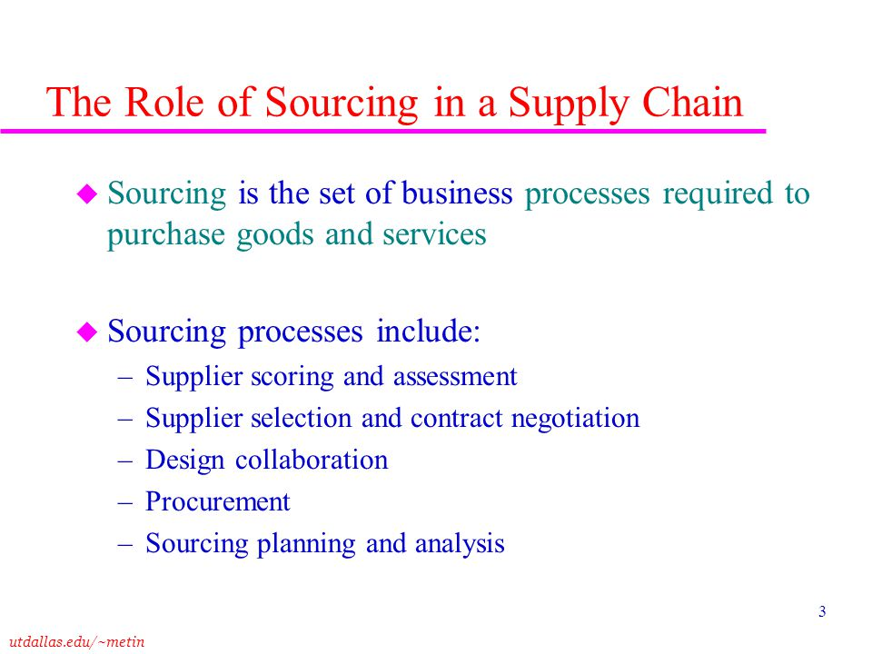 The Role of Sourcing in a Supply Chain