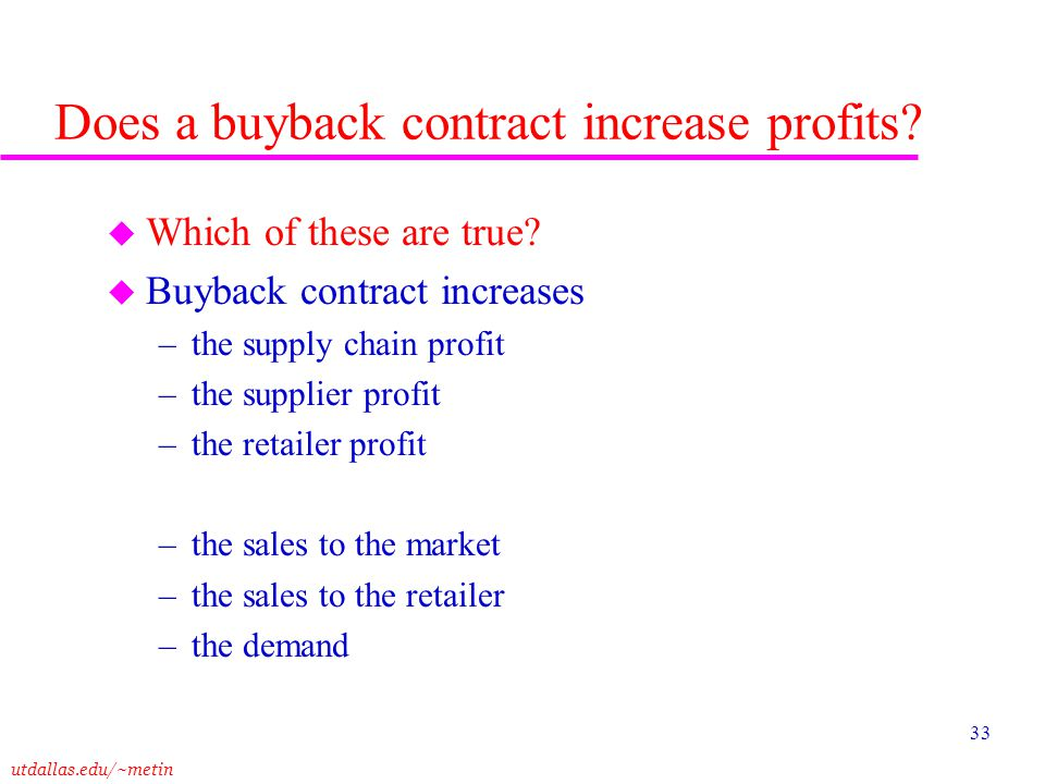 Does a buyback contract increase profits
