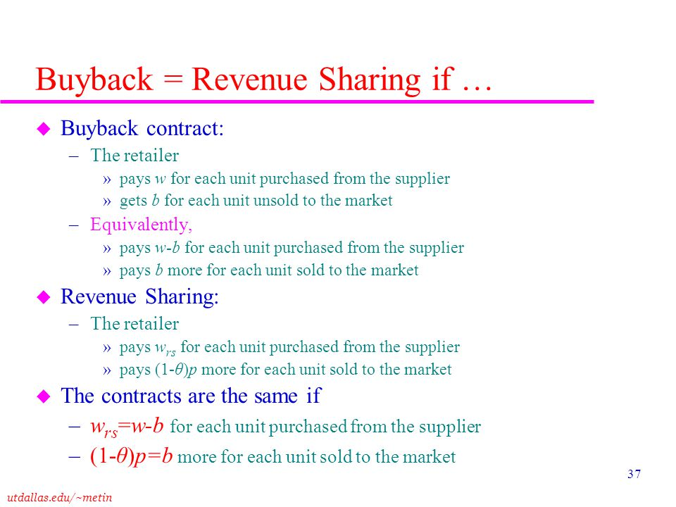 Buyback = Revenue Sharing if …