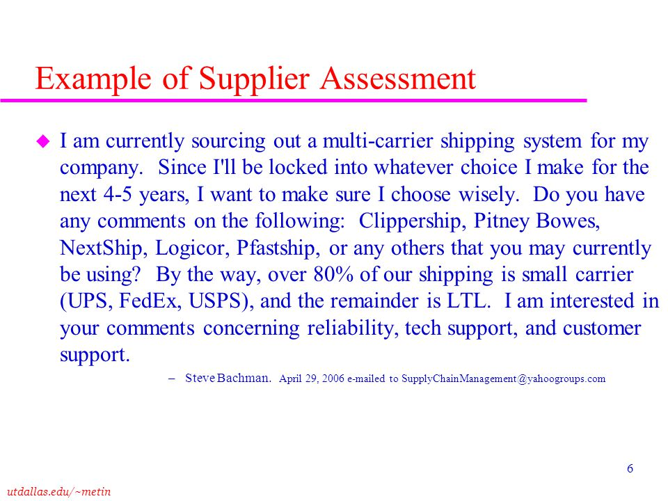 Example of Supplier Assessment