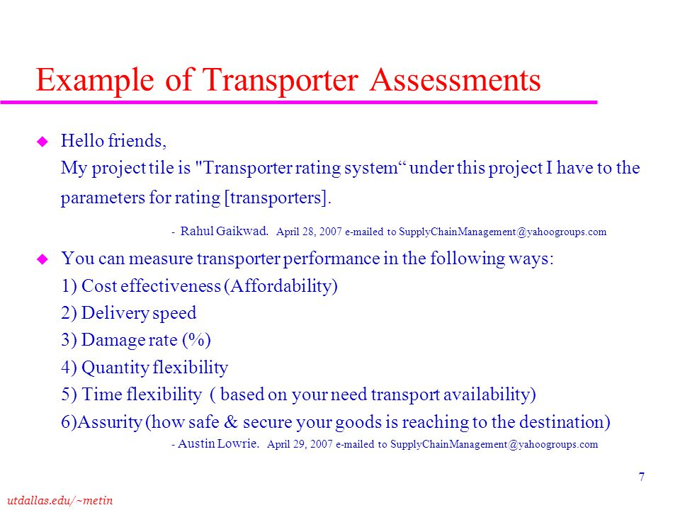 Example of Transporter Assessments