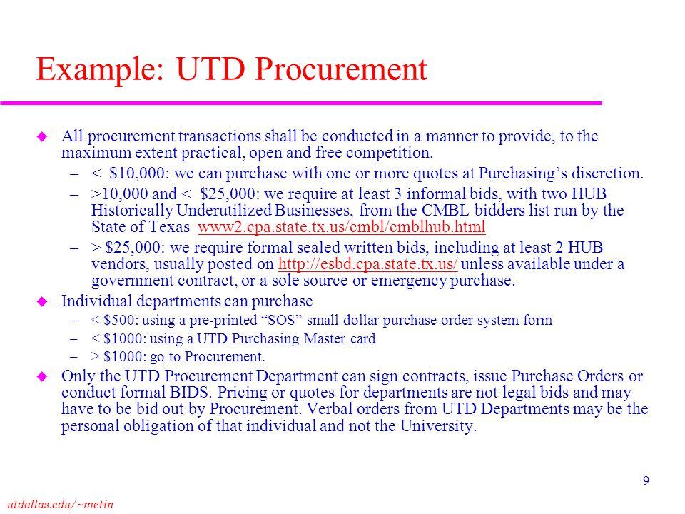 Example: UTD Procurement
