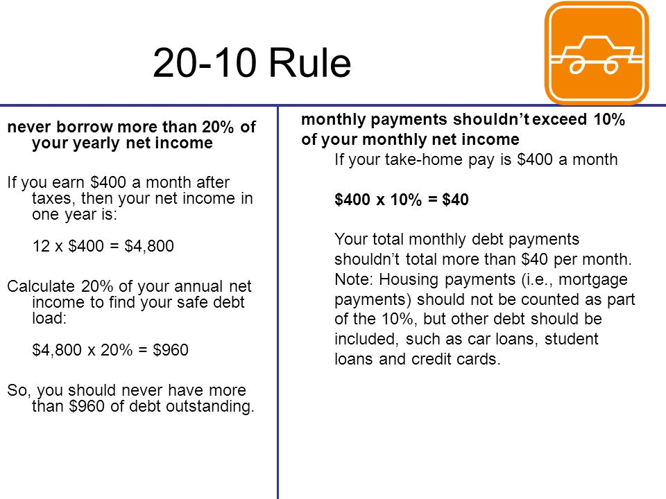 20-10 Rule monthly payments shouldn't exceed 10% of your monthly net income. If your take-home pay is $400 a month $400 x 10% = $40.