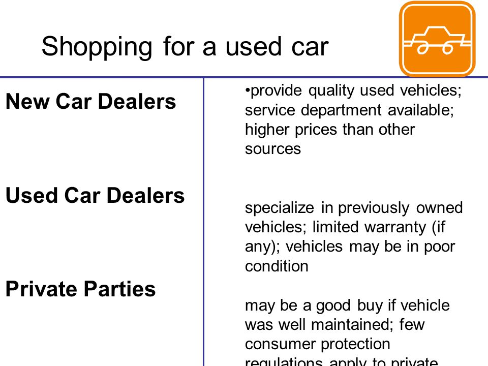Shopping for a used car New Car Dealers Used Car Dealers