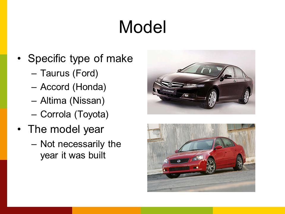 Model Specific type of make The model year Taurus (Ford)