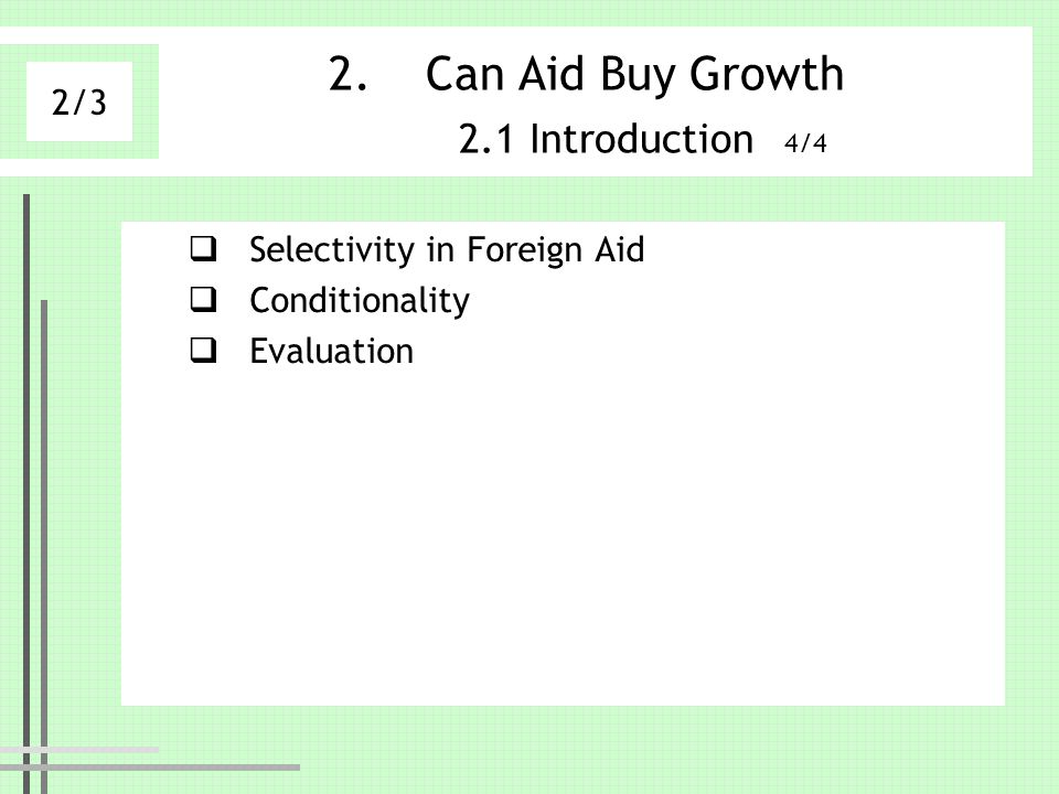 Can Aid Buy Growth 2.1 Introduction 4/4