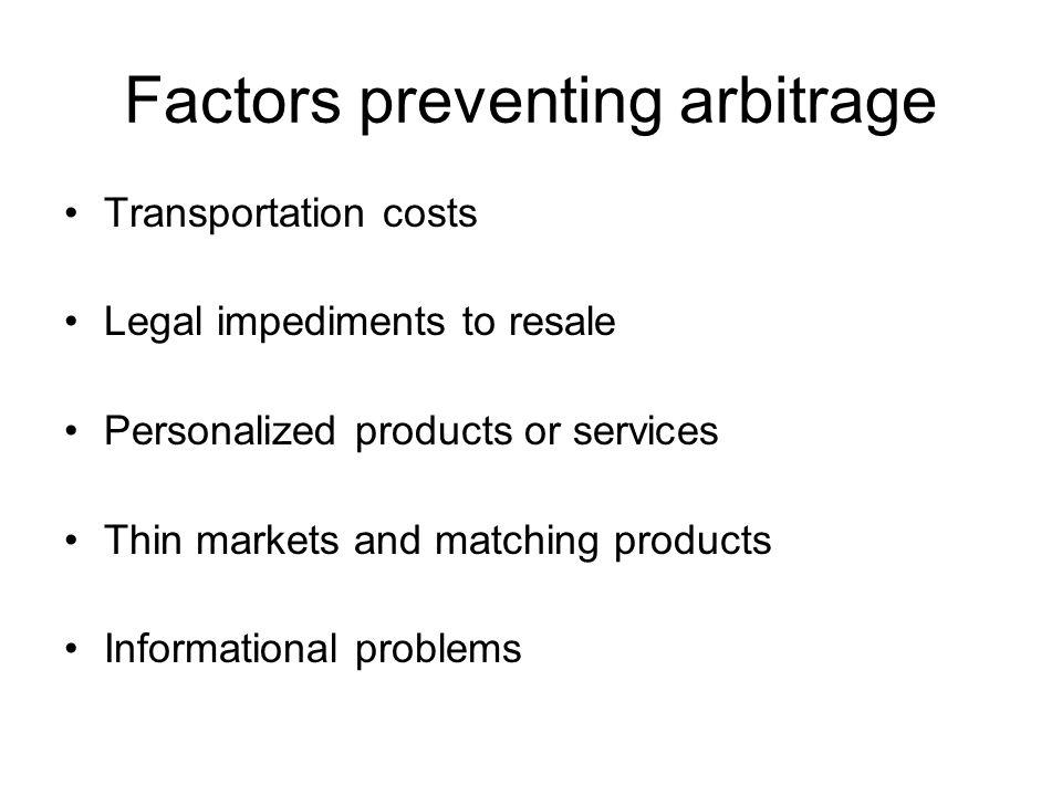 Factors preventing arbitrage
