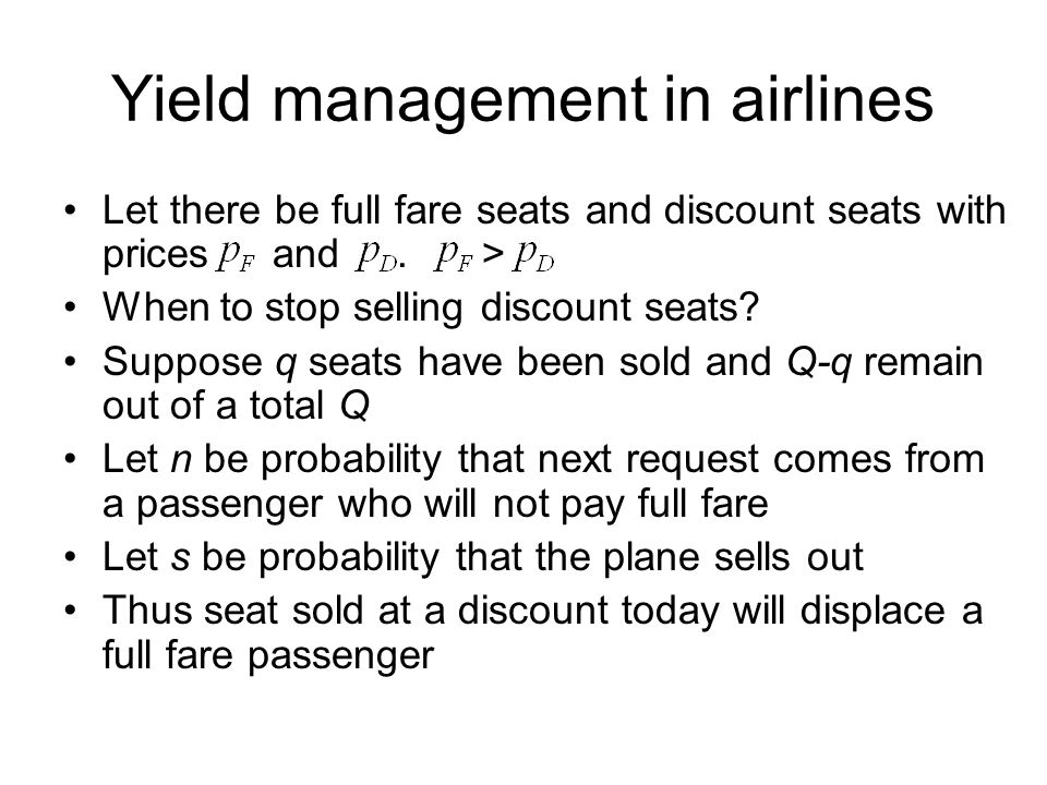 Yield management in airlines
