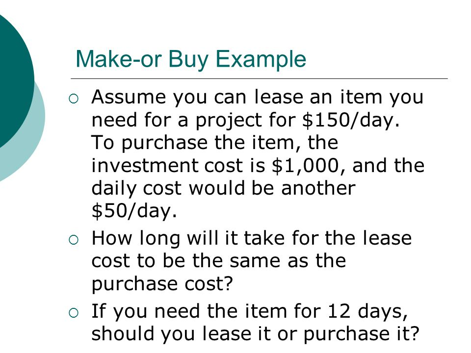 Make-or Buy Example