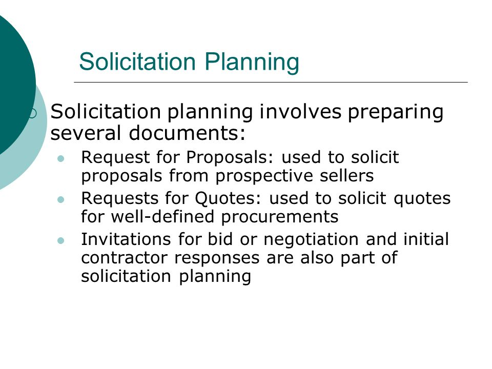 Solicitation Planning