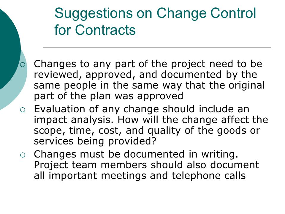 Suggestions on Change Control for Contracts