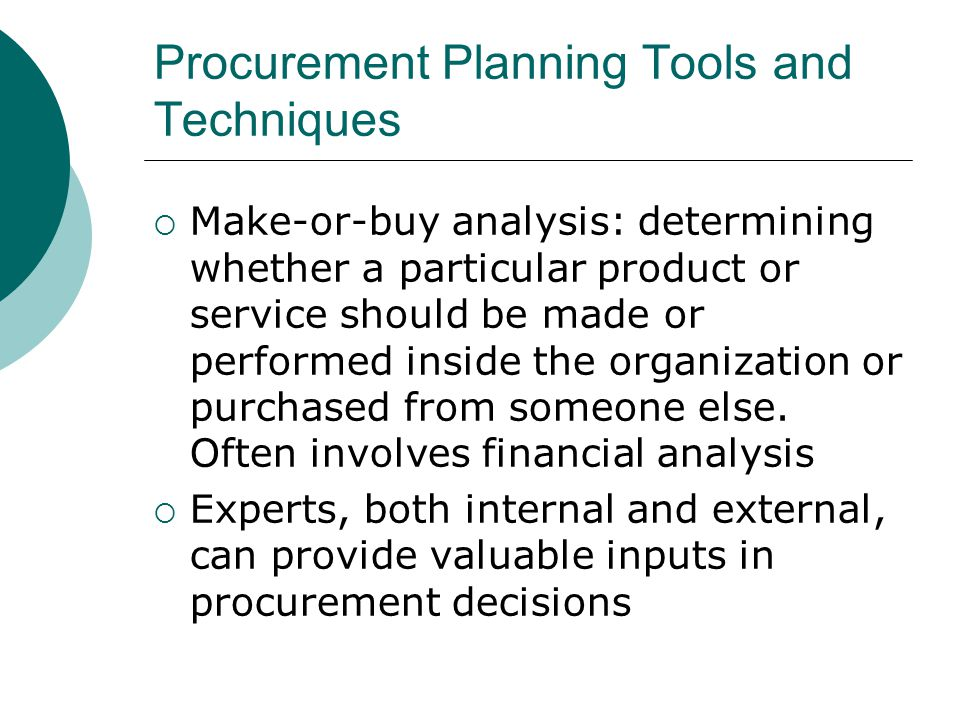 Procurement Planning Tools and Techniques