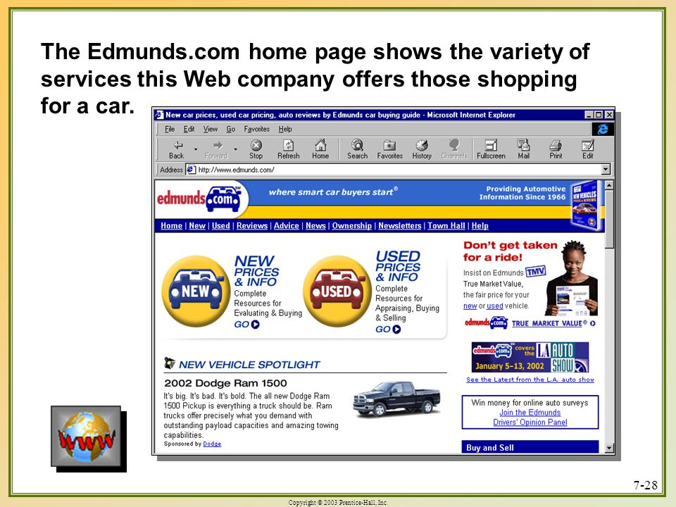 The Edmunds.com home page shows the variety of services this Web company offers those shopping for a car.