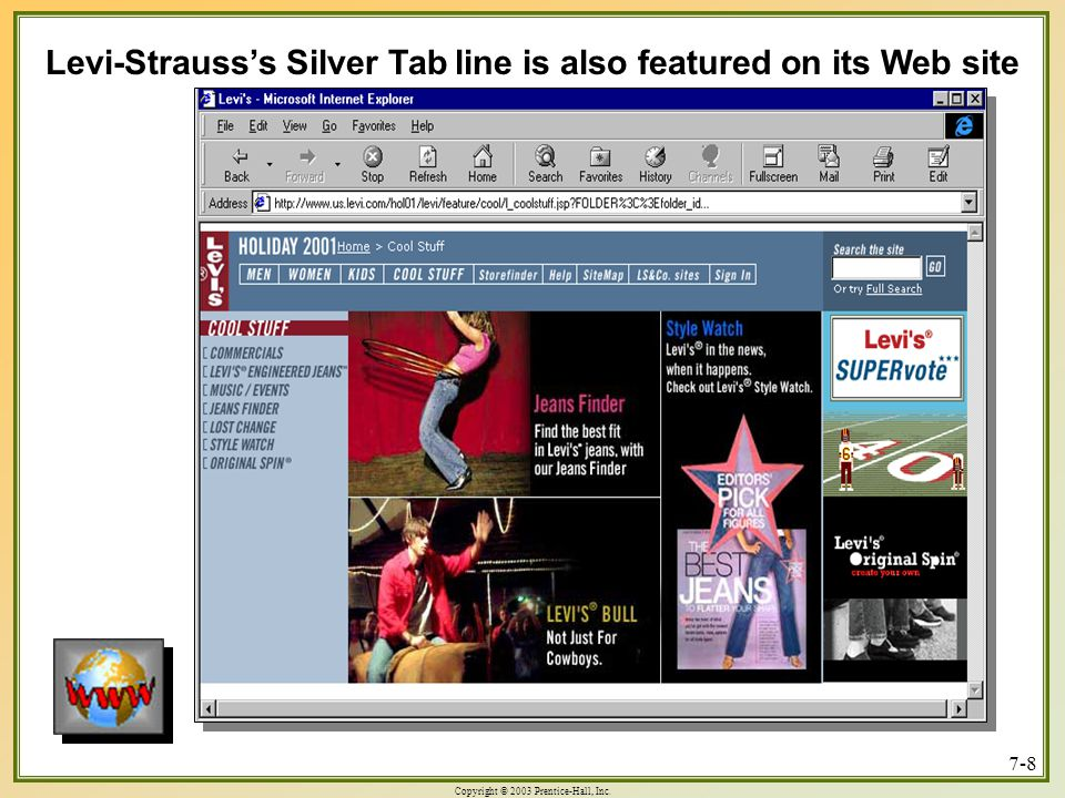 Levi-Strauss's Silver Tab line is also featured on its Web site