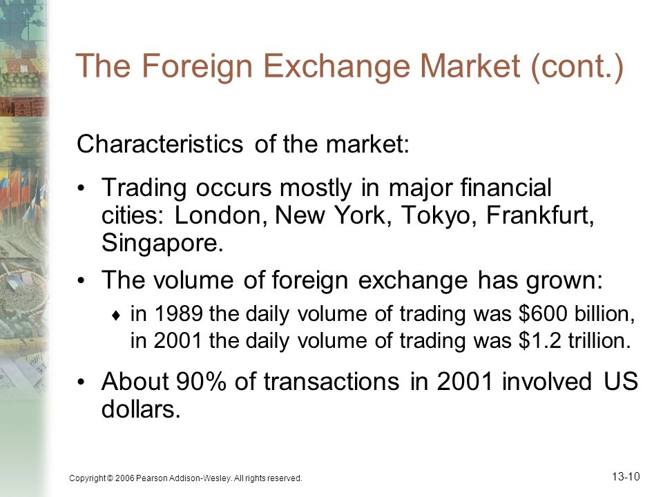 The Foreign Exchange Market (cont.)
