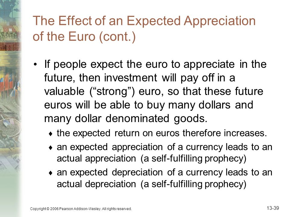 The Effect of an Expected Appreciation of the Euro (cont.)