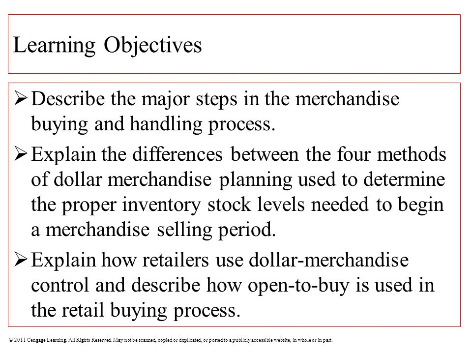 Learning Objectives Describe the major steps in the merchandise buying and handling process.