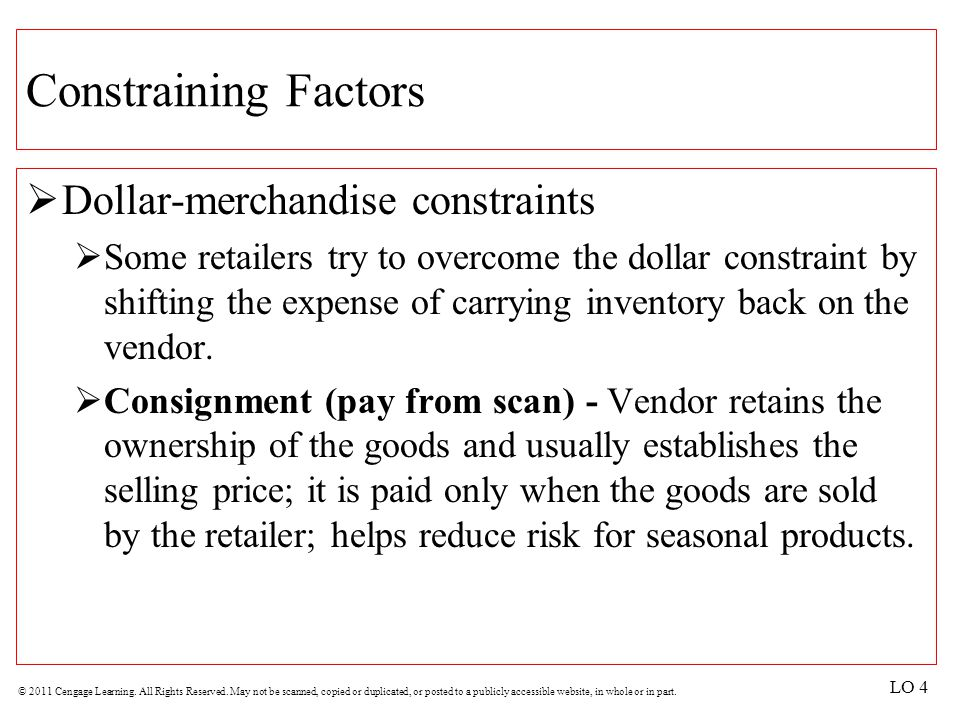 Constraining Factors Dollar-merchandise constraints