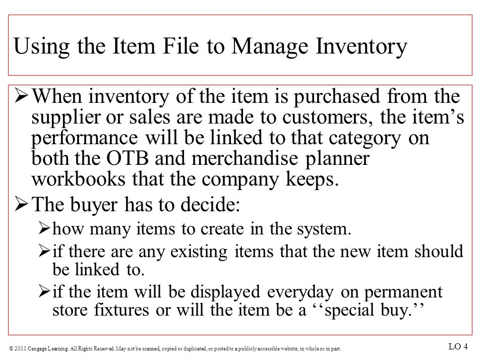 Using the Item File to Manage Inventory