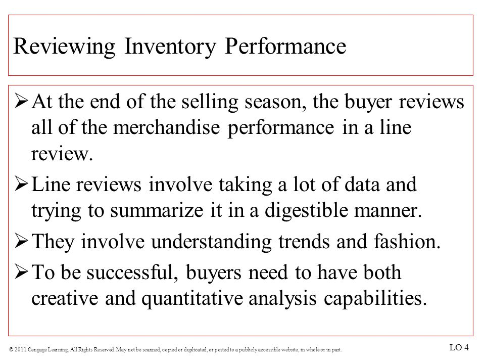Reviewing Inventory Performance