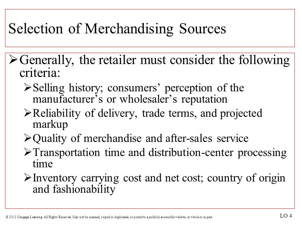 Selection of Merchandising Sources