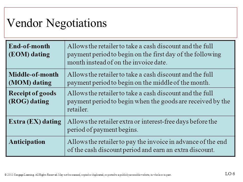 Vendor Negotiations End-of-month (EOM) dating