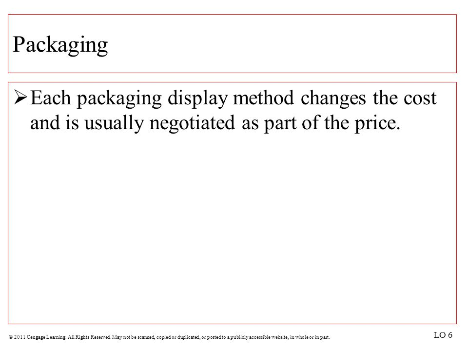 Packaging Each packaging display method changes the cost and is usually negotiated as part of the price.