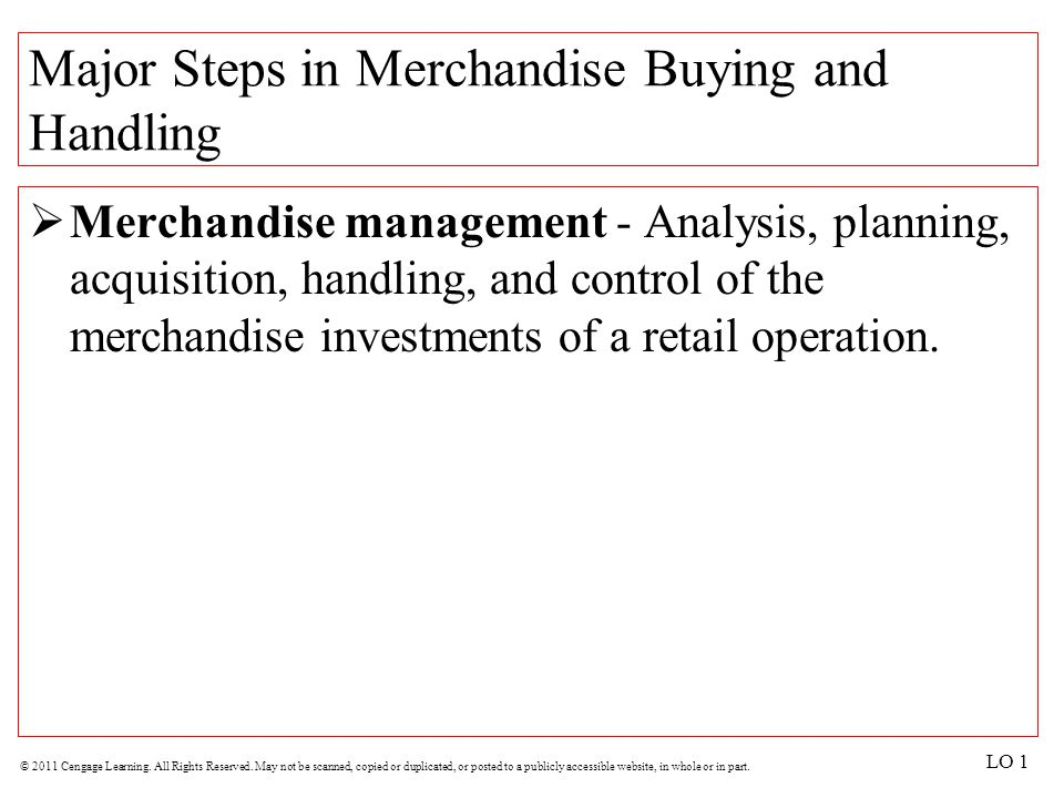 Major Steps in Merchandise Buying and Handling