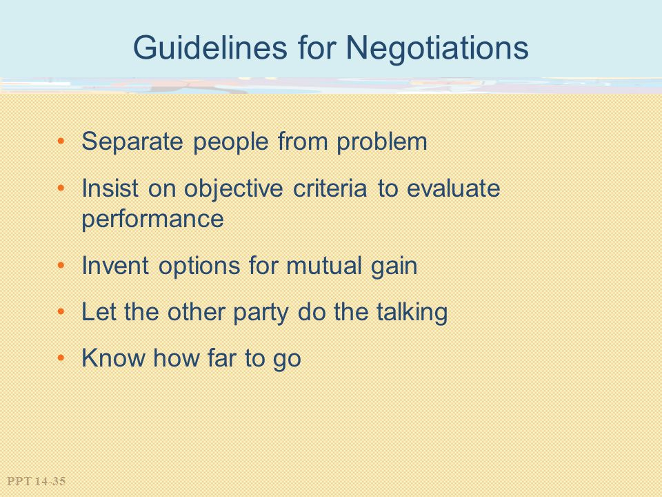 Guidelines for Negotiations