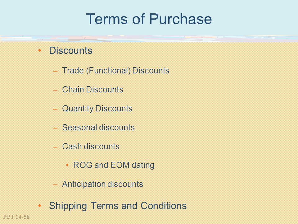 Terms of Purchase Discounts Shipping Terms and Conditions