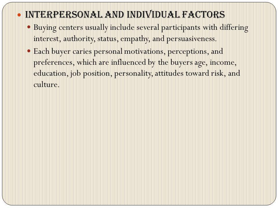 Interpersonal and individual factors
