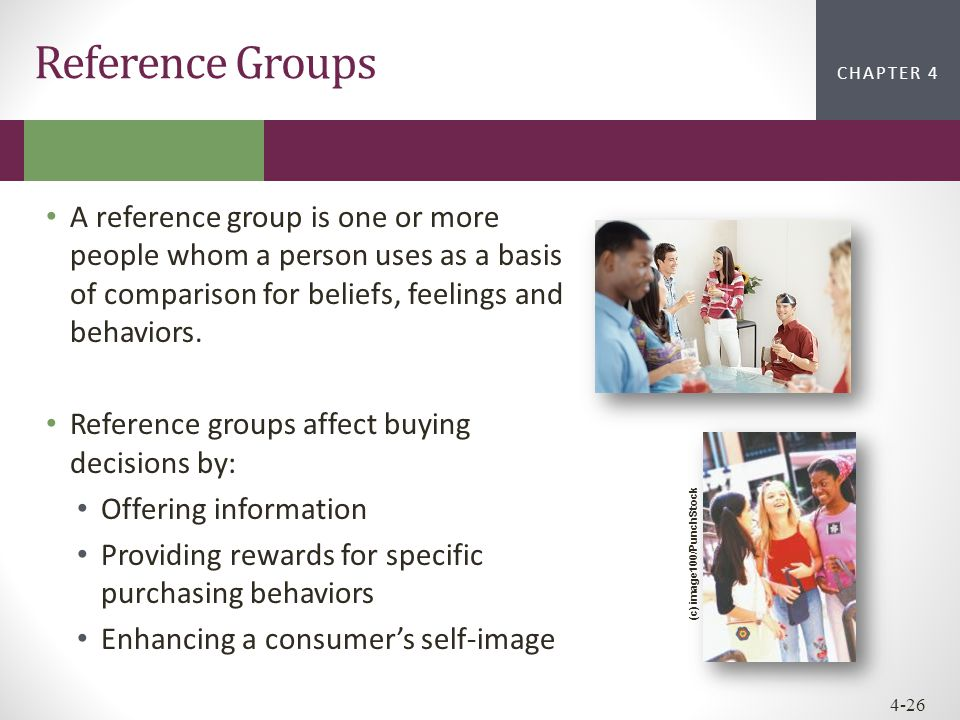 Reference Groups A reference group is one or more people whom a person uses as a basis of comparison for beliefs, feelings and behaviors.