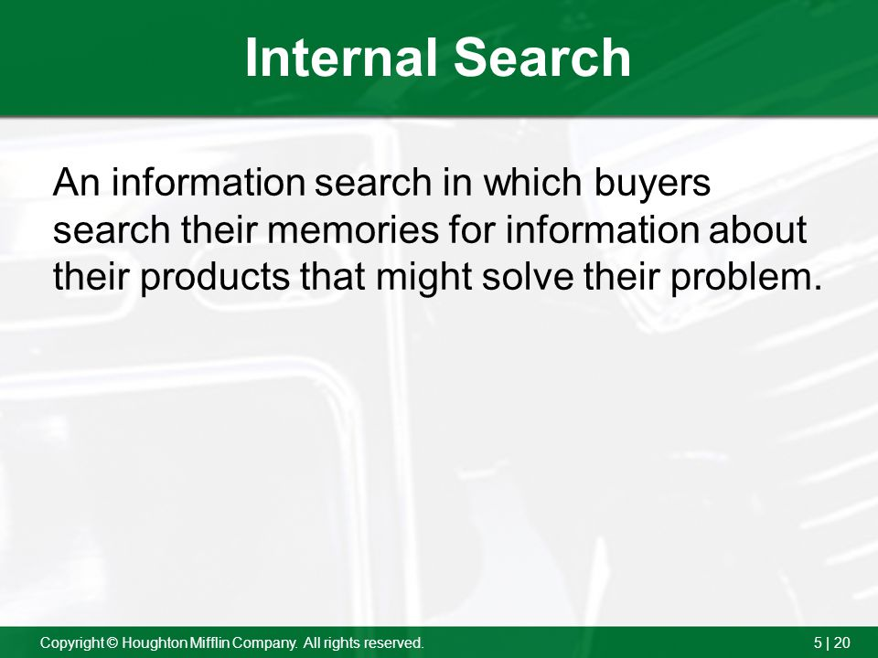 Internal Search An information search in which buyers search their memories for information about their products that might solve their problem.