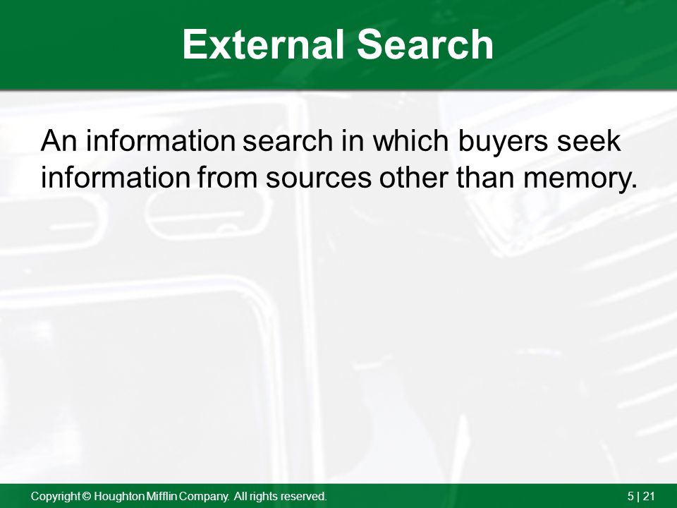 External Search An information search in which buyers seek information from sources other than memory.