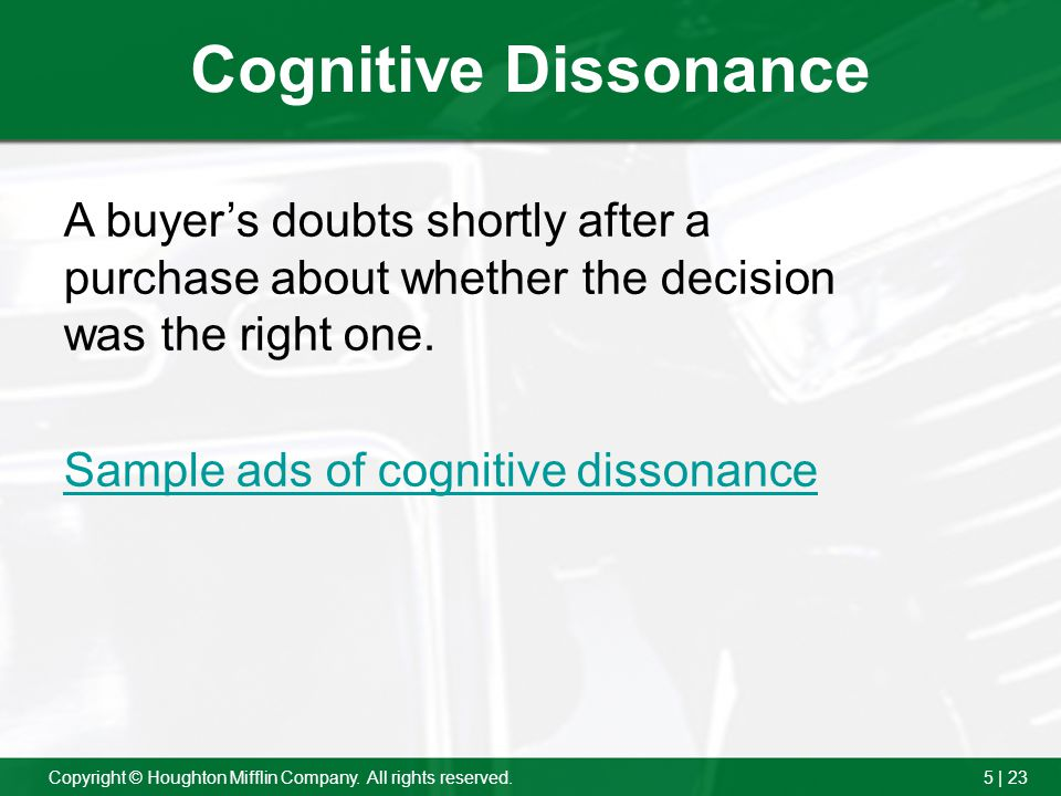Cognitive Dissonance A buyer's doubts shortly after a purchase about whether the decision was the right one.