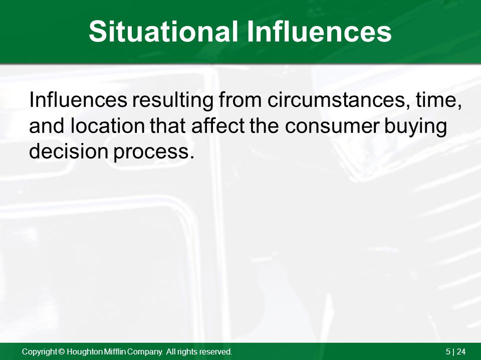 "situational influences on purchasing behavior essay Free essay: this study discusses the ""factors that influence the buying behavior of financial management students according to their weekly allowance this."