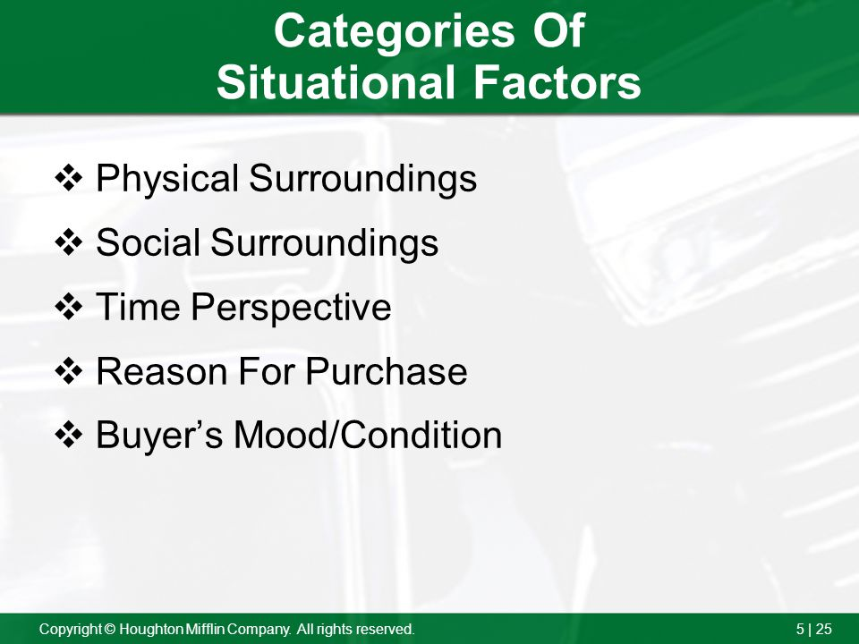 Categories Of Situational Factors