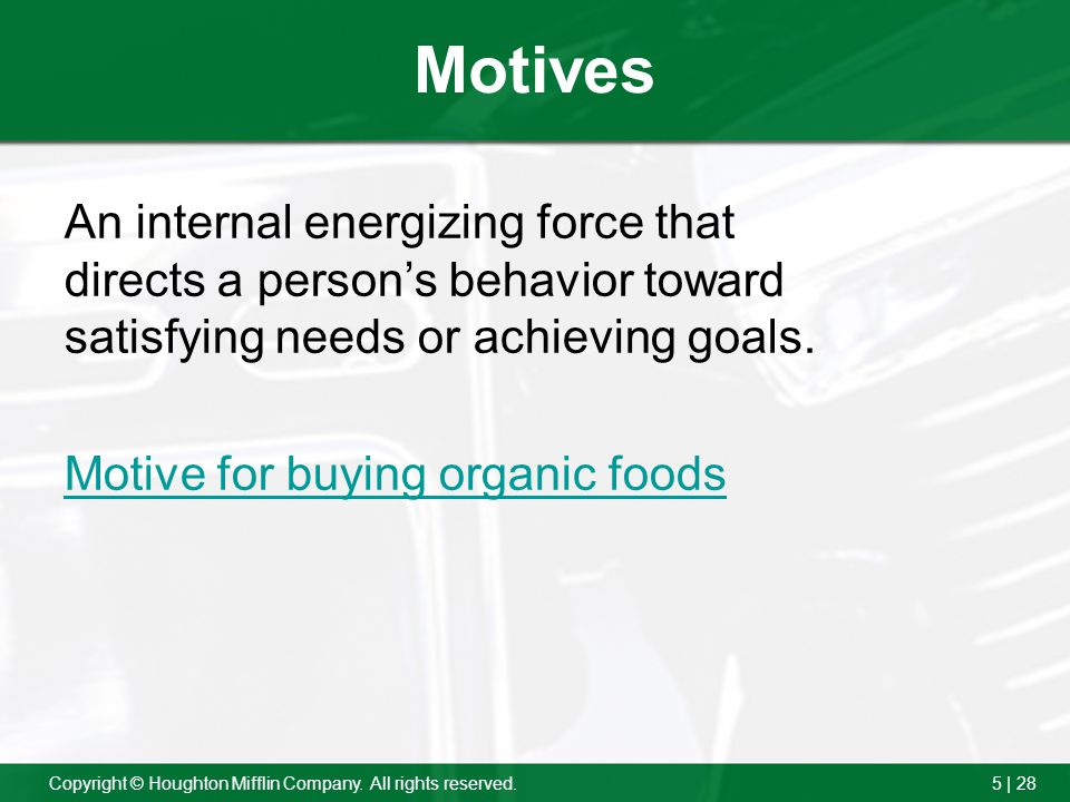 Motives An internal energizing force that directs a person's behavior toward satisfying needs or achieving goals.