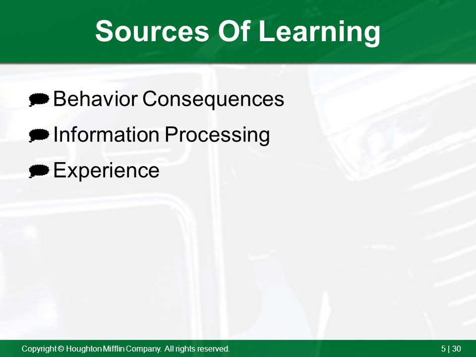 Sources Of Learning Behavior Consequences Information Processing