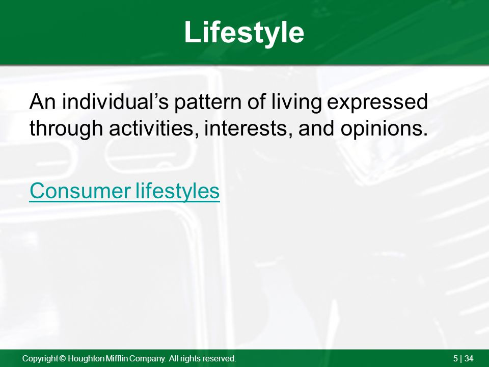 Lifestyle An individual's pattern of living expressed through activities, interests, and opinions.