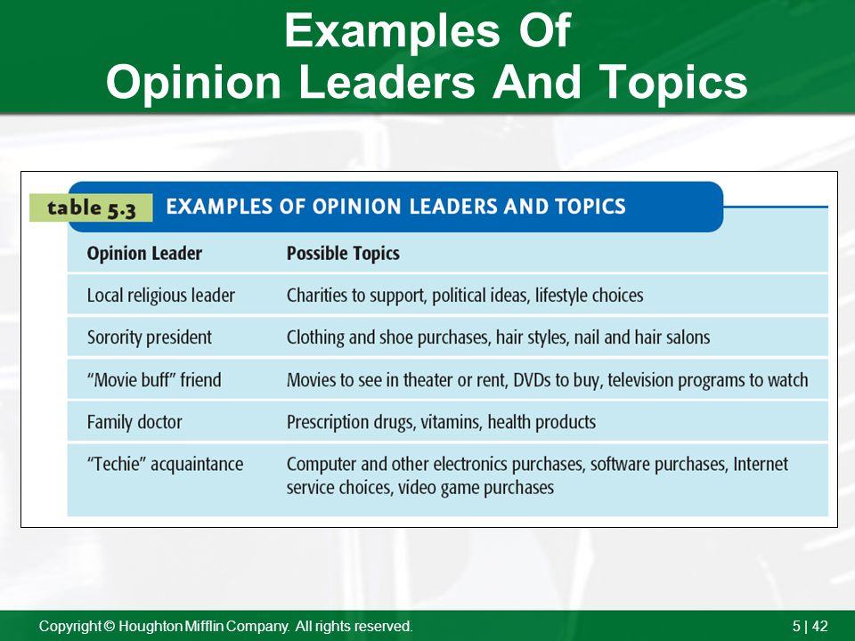 Examples Of Opinion Leaders And Topics