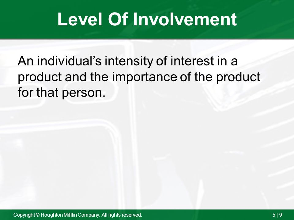 Level Of Involvement An individual's intensity of interest in a product and the importance of the product for that person.