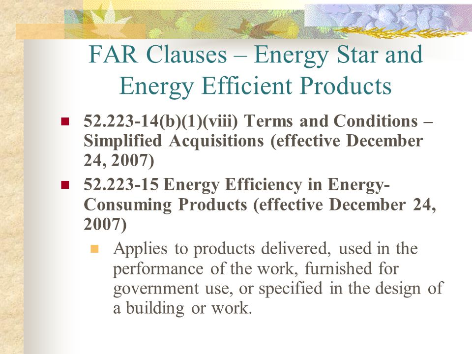 FAR Clauses – Energy Star and Energy Efficient Products