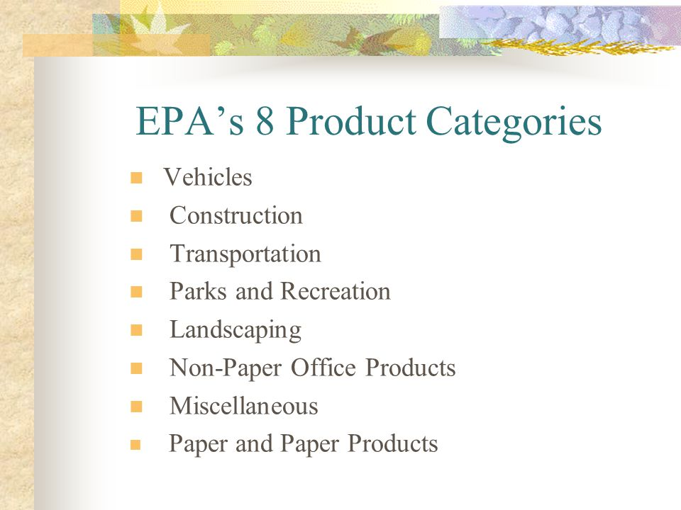 EPA's 8 Product Categories