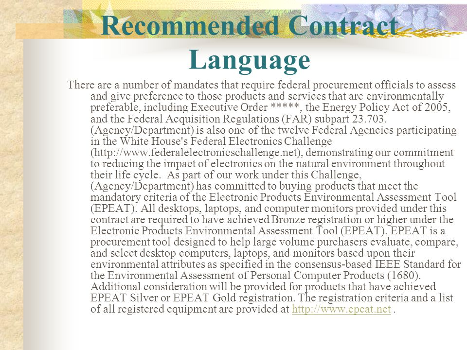 Recommended Contract Language