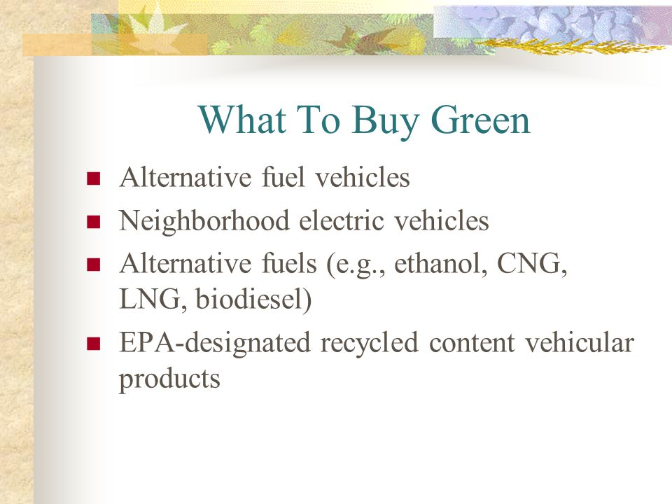 What To Buy Green Alternative fuel vehicles