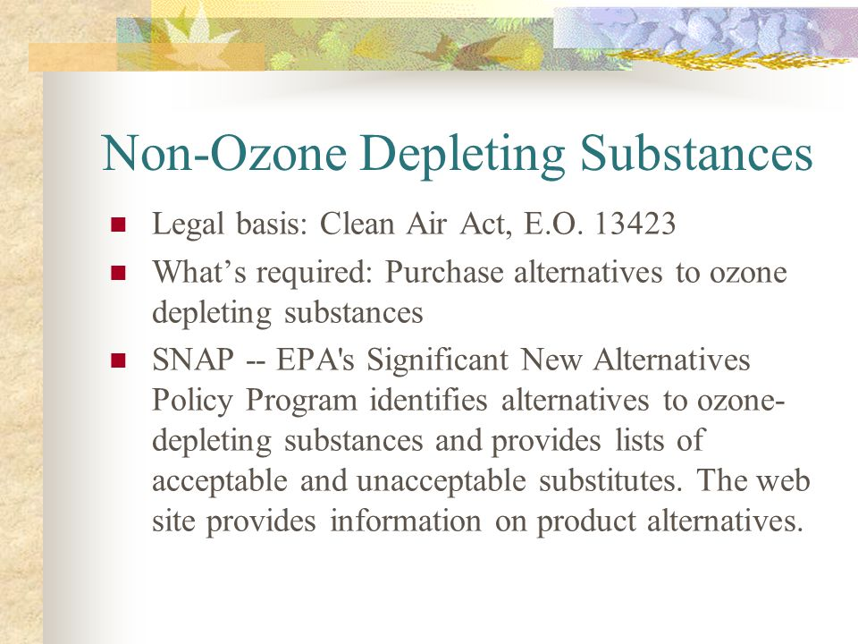 Non-Ozone Depleting Substances