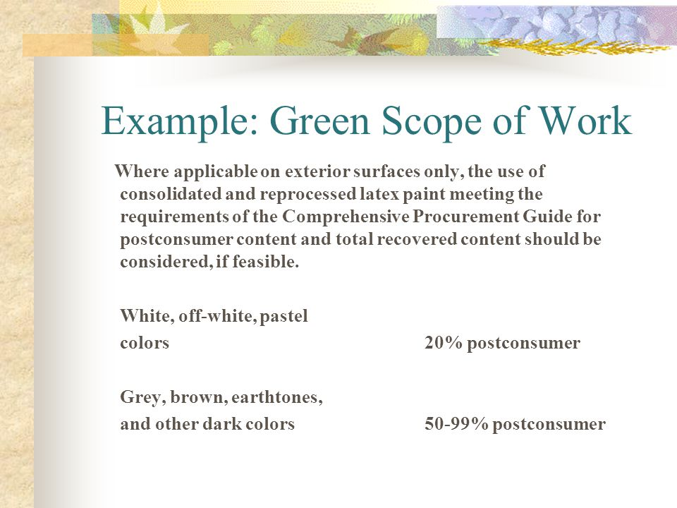 Example: Green Scope of Work