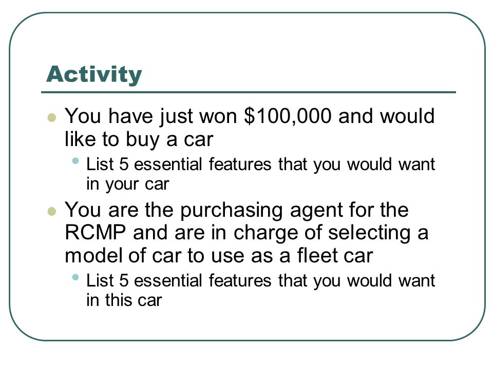 Activity You have just won $100,000 and would like to buy a car