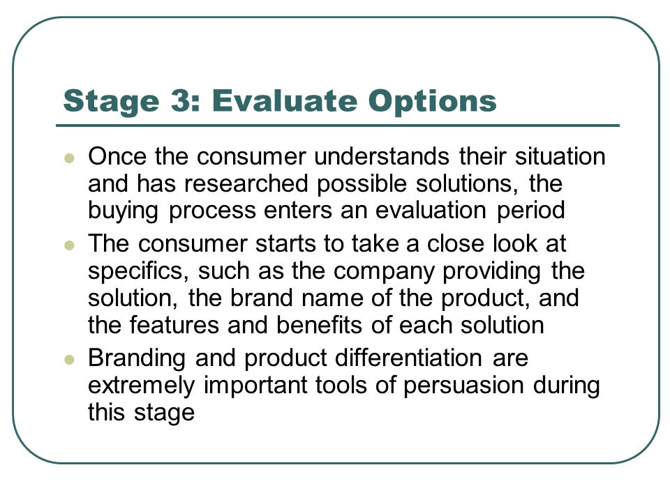 Stage 3: Evaluate Options